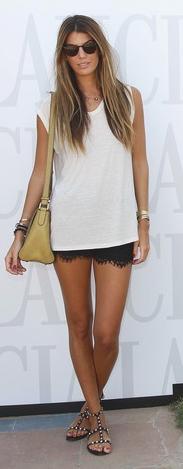 black lace shorts, studded sandals