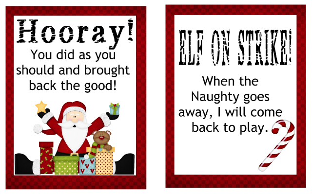 Elf On Strike Printable Cards Elf On The Self Printable Cards Elf On The Shelf
