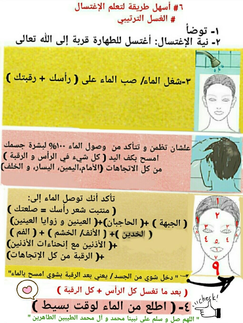 ٦ أسهل طريقة لتعلم الإغتسال الغسل الترتيبي الدورة الشهرية الجنابة Health Jogging Event
