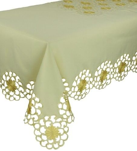 Xia Home Fashions Daisy Splendor Embroidered Cutwork Spring Tablecloth, 70 by 144-Inch, Yellow