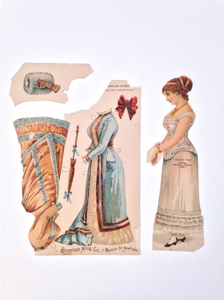 Antique Victorian Trade Card Advertising Bortree Duplex Corset Paper Doll   eBay