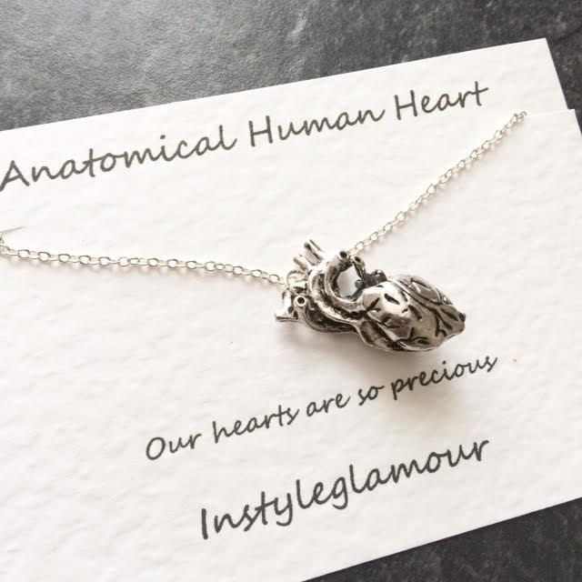 Anatomical Heart Necklace Human Anatomy Necklace Heart Necklace
