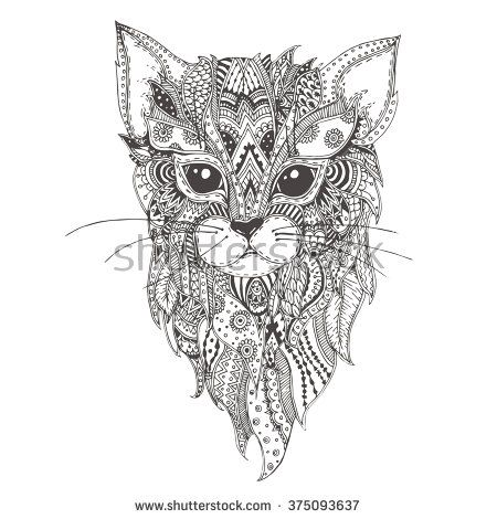 Cat. Hand-drawn cat with ethnic floral doodle pattern. Coloring ...