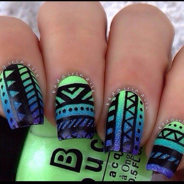 Beautiful aztec nail art | Cute Nails | Pinterest | Aztec nails ...