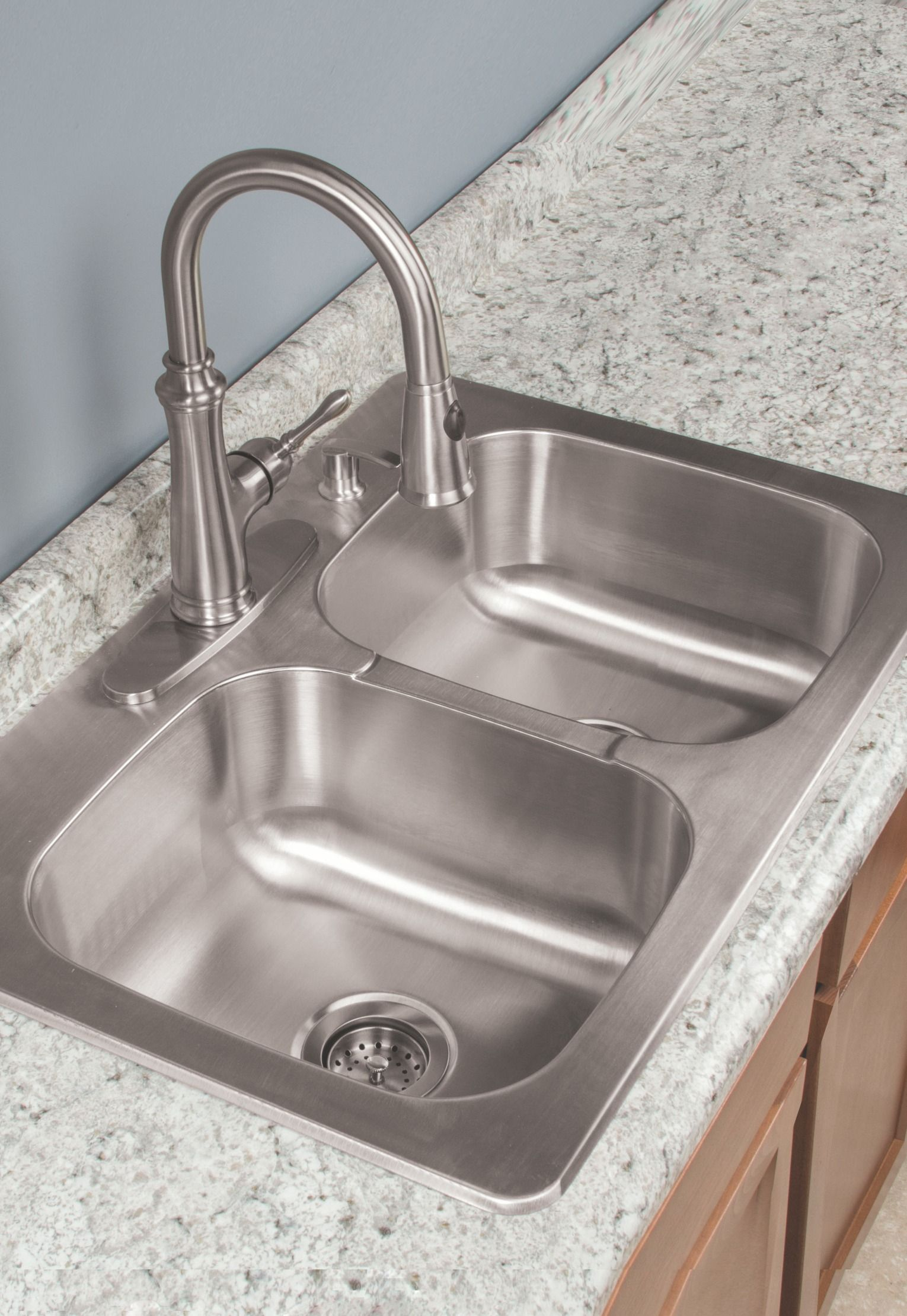 Clean dirty dishes in this Tuscany 9\'\' Double-Bowl Kitchen Sink ...