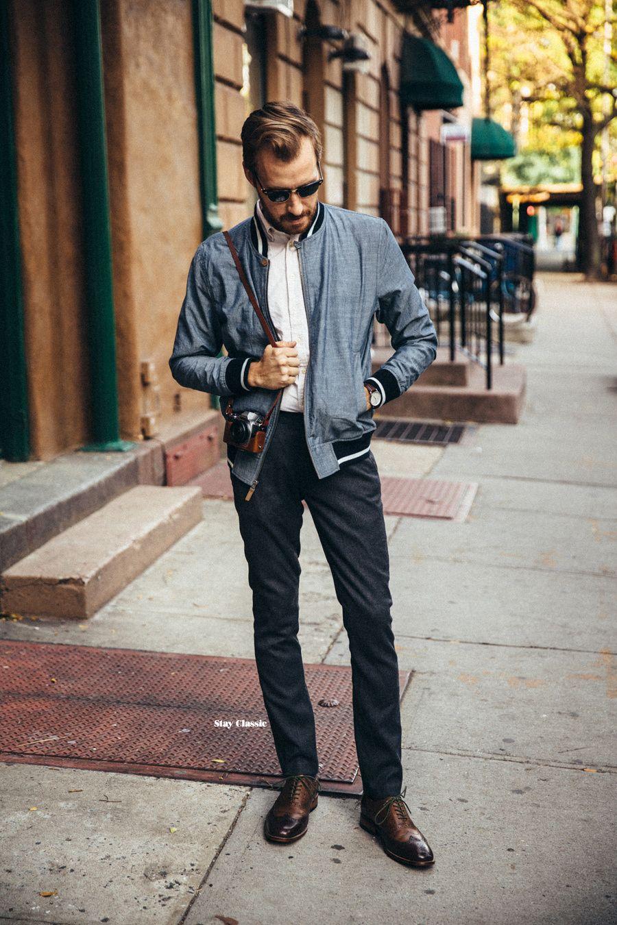 Men S Grey Bomber Jacket White Dress Shirt Charcoal Wool Dress Pants Dark Brown Leather Brogues Jackets Men Fashion Grey Bomber Jacket Mens Outfits [ 1350 x 900 Pixel ]