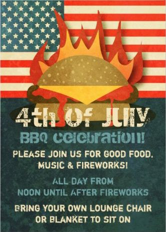 Rustic vintage flaming hamburger #July_4th_BBQ celebration party #invitations. Fire it up!