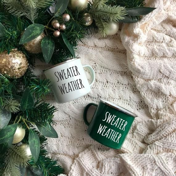 Sweater weather Christmas gift Enamel mug Cozy mug Winter mug Coffee mug Campfire mug Custom mug Per #custommugs