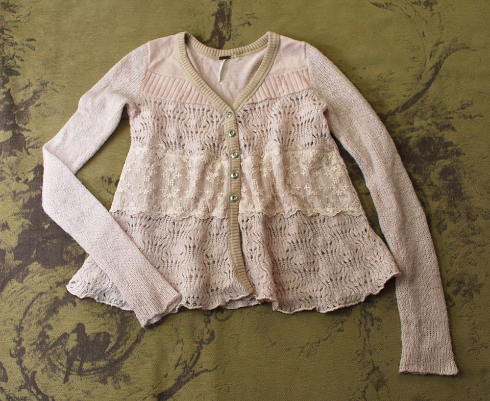 Anthropologie free people blush pale pink lace babydoll cardigan ...
