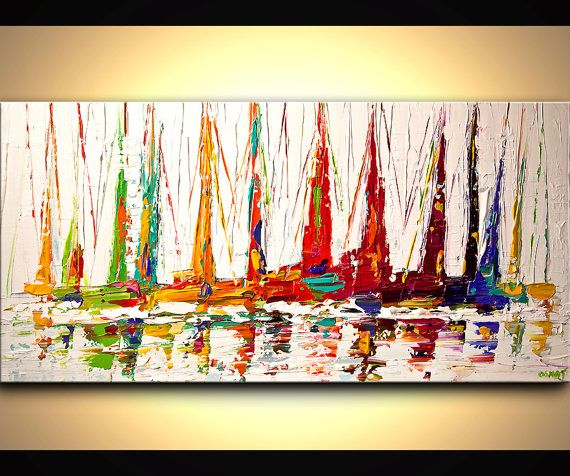 Colorful Sail Boats Painting Original Contemporary by OsnatFineArt, $600.00