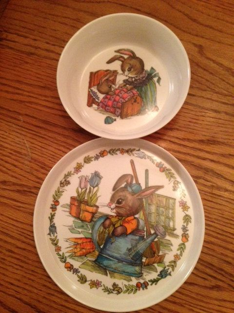 Vintage Rabbit Melamine Bowl And Plate Easter Plate Bunny Bowl Childs Bowl Childrens Plate Baby Bowl Baby Bowls Vintage Rabbit Easter Plates