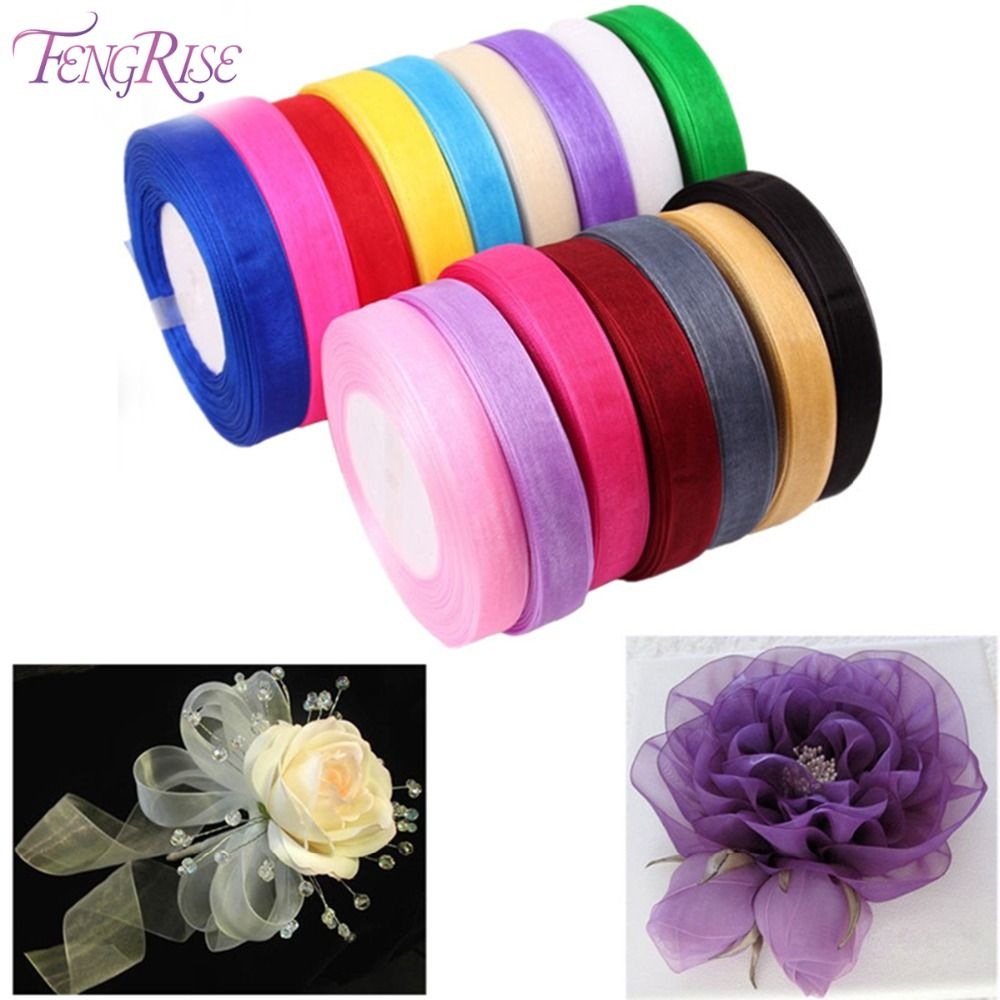 Fengrise mm m organza ribbon artificial flowers bouquet