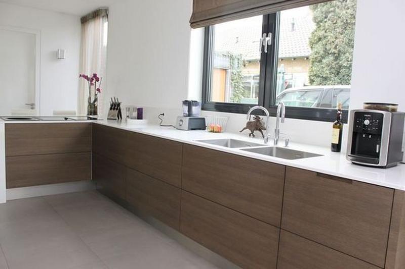 Houten keuken wit composiet werkblad google zoeken keuken