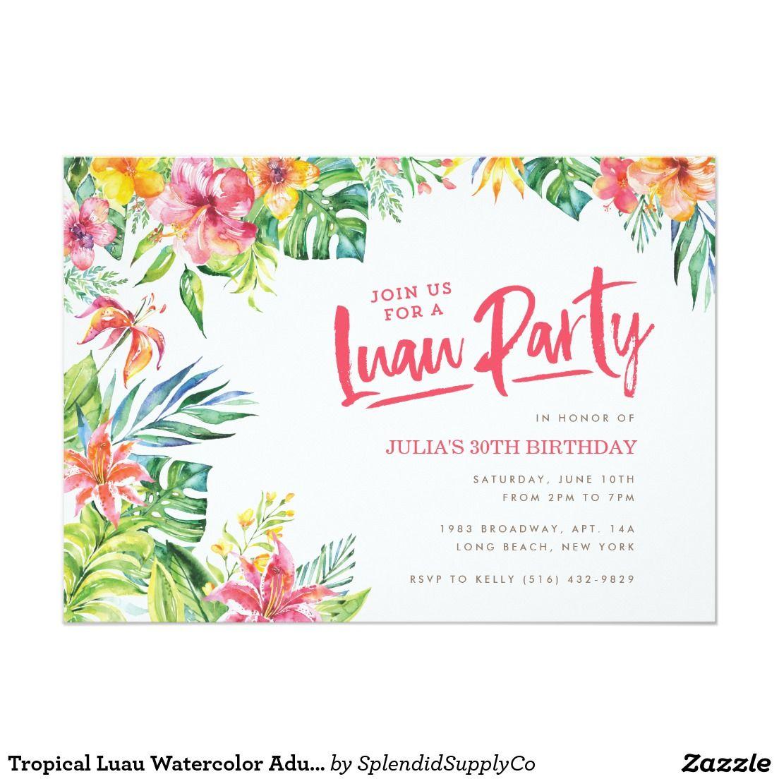 Tropical Luau Watercolor Adult Birthday Invitation | Luau Wedding ...