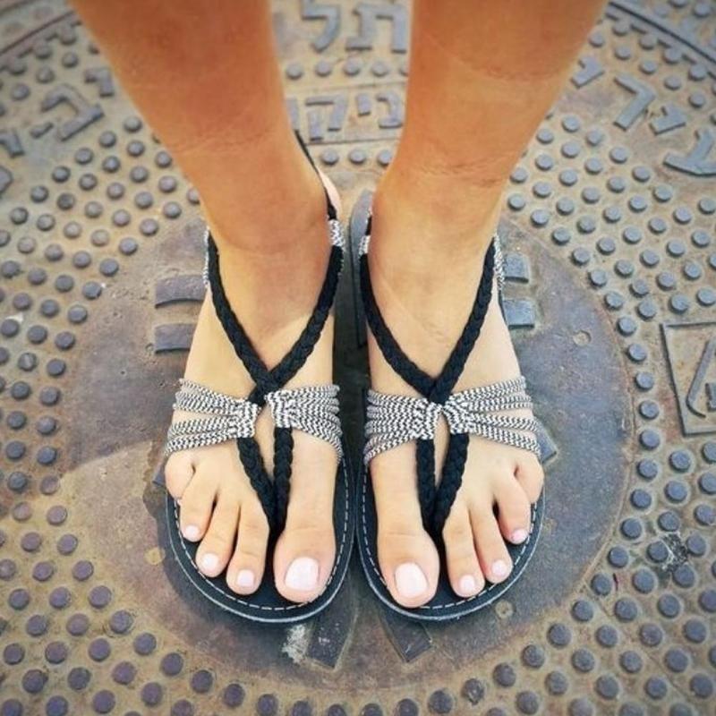 3209adb511b6e5 Senza Fretta Women Summer Vintage Gladiator Shoes Beach Lace up Sandals Flat  Heels Slippers Ladies Beach
