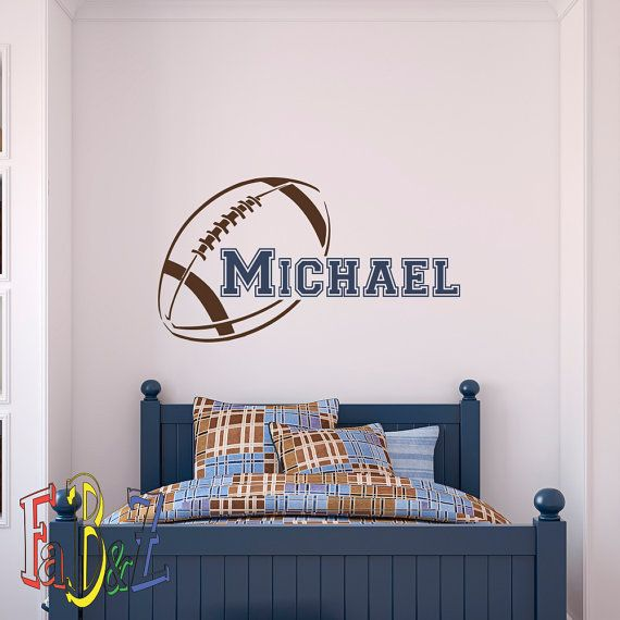 Boys Name Wall Decal American Football Wall Decals Personalized Boy Custom  Initial Name Nursery Kids Teens