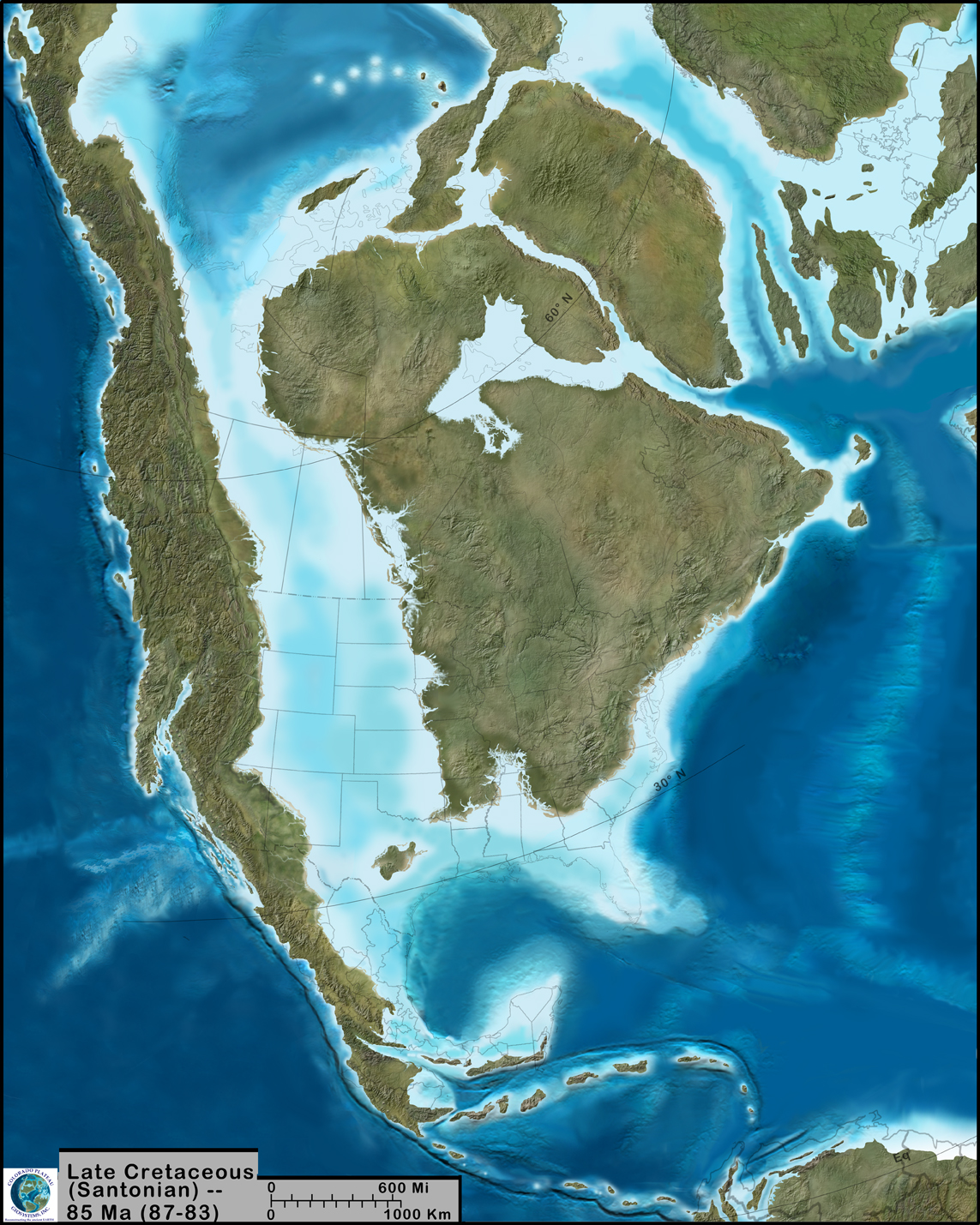 """A paleogeographic reconstruction of North America during the Late Cretaceous, 85Ma wriggly_fish: """"The author has a beautiful map library found here: http://cpgeosystems.com/namkeyframe.html """""""