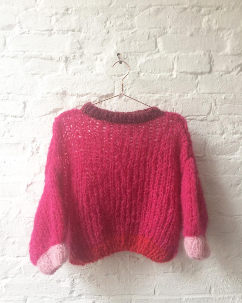7743523ba2b2 Hand knitted chunky mohair pullover pink -red
