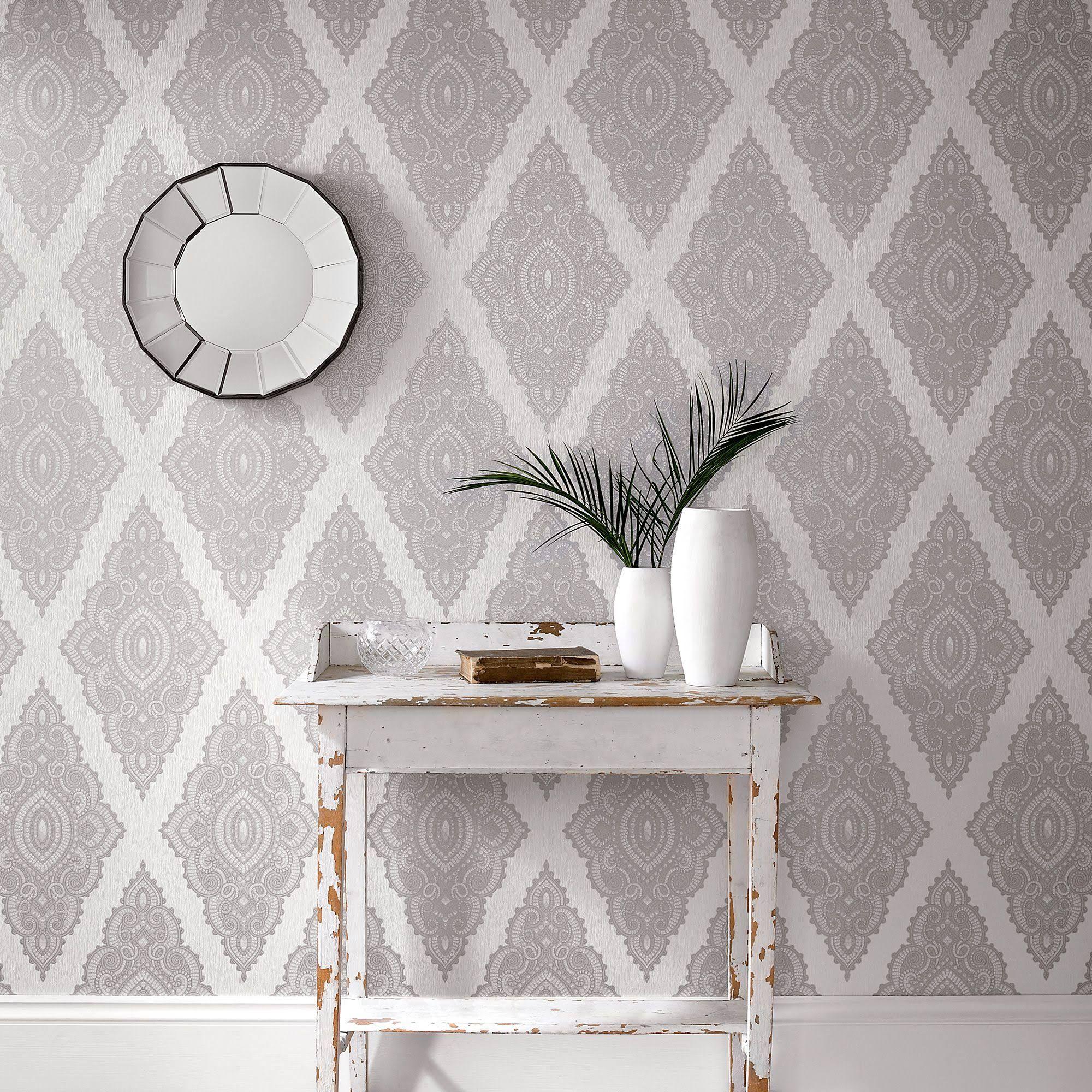 Graham Brown White Pearl Silver Jewel Wallpaper 2958387 White And Silver Wallpaper Wallpaper Design For Bedroom Silver Wallpaper