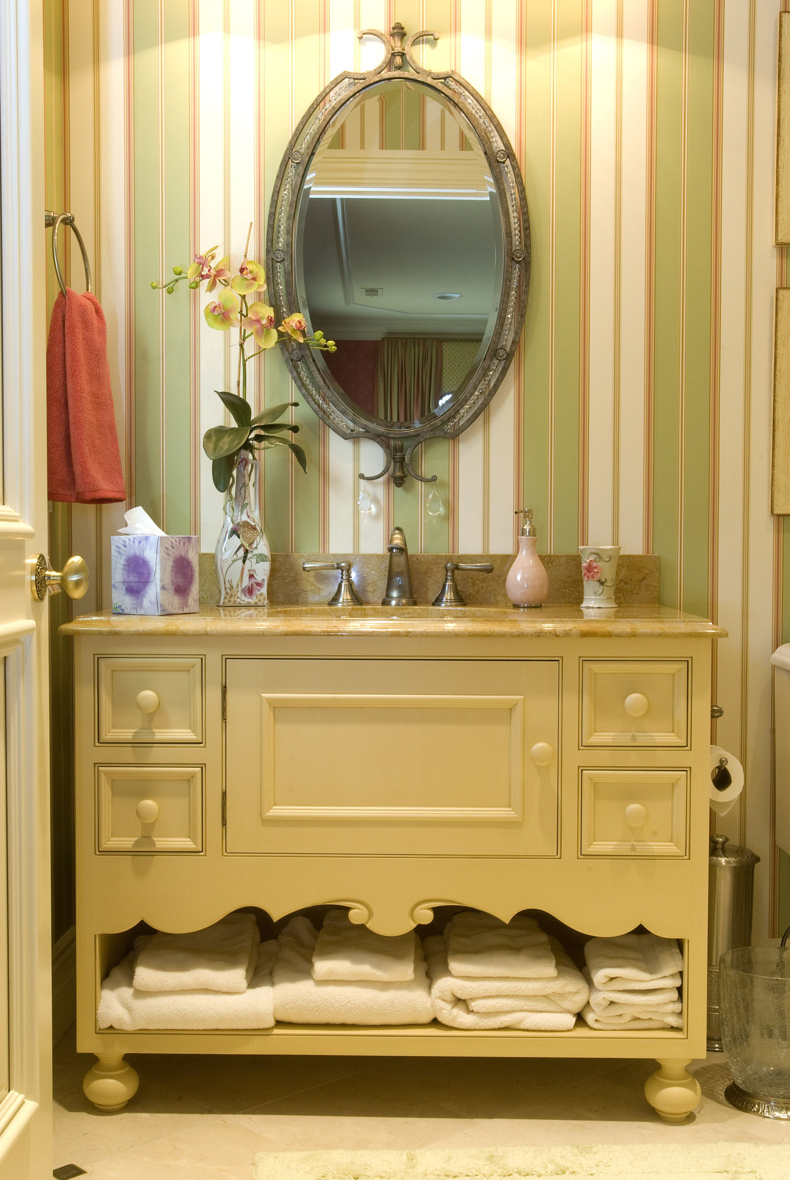 French Country Bath Oberholtzer Custom Cabinetry