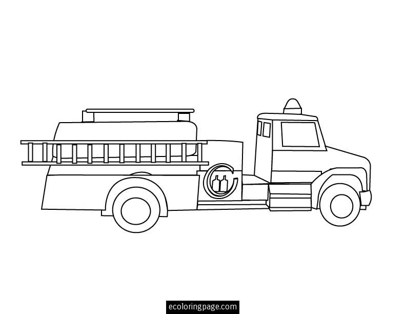 Fire Truck With Ladder Printable Coloring Page