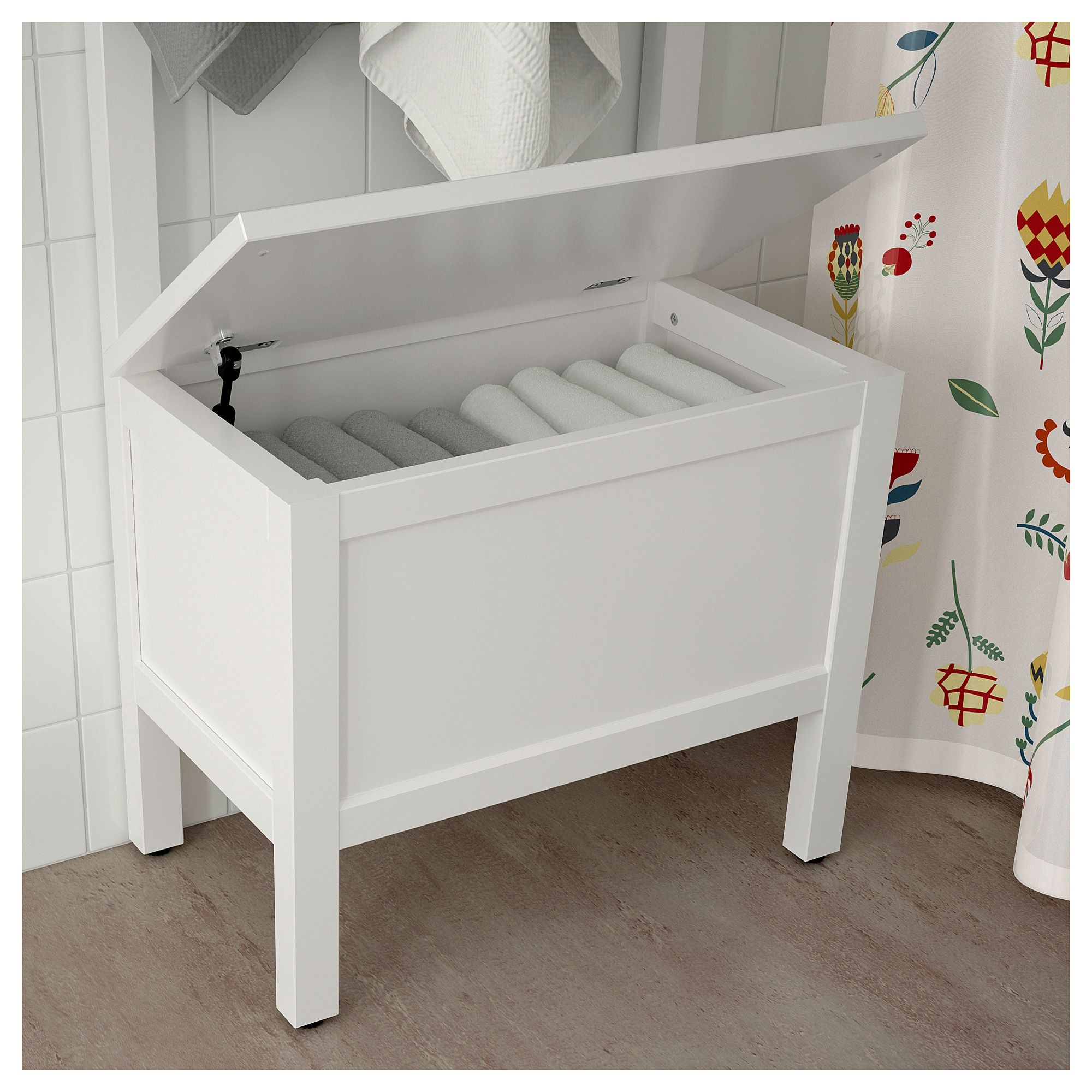 Hemnes Storage Bench W Towel Rail 4 Hooks White 25 1 4x14 5 8x68