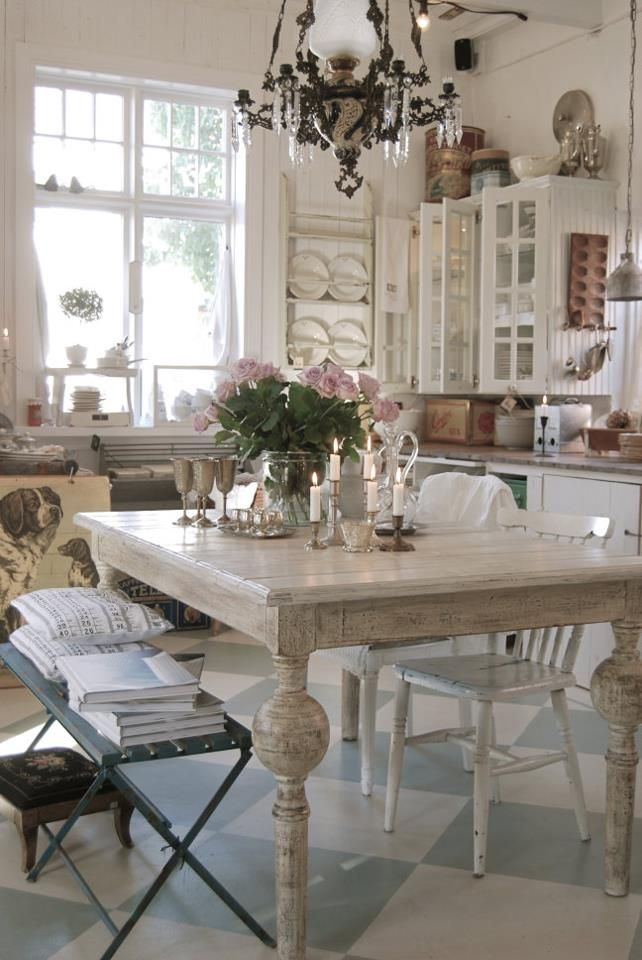 wonderful industrial shabby chic kitchen | Wonderful eat-in cottage kitchen! Love the pale blue ...