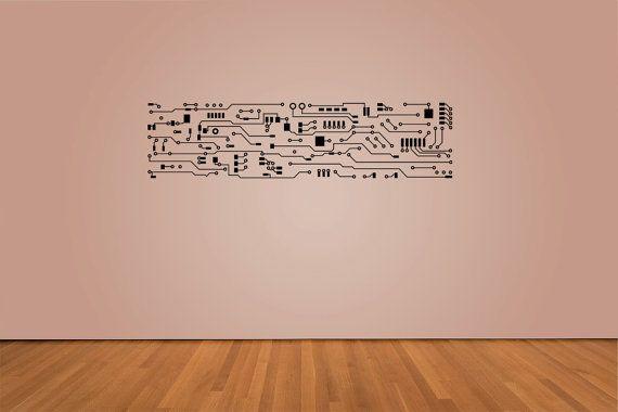 "circuit board decal 12"" x 48"" living room, bedroom, game room, den"