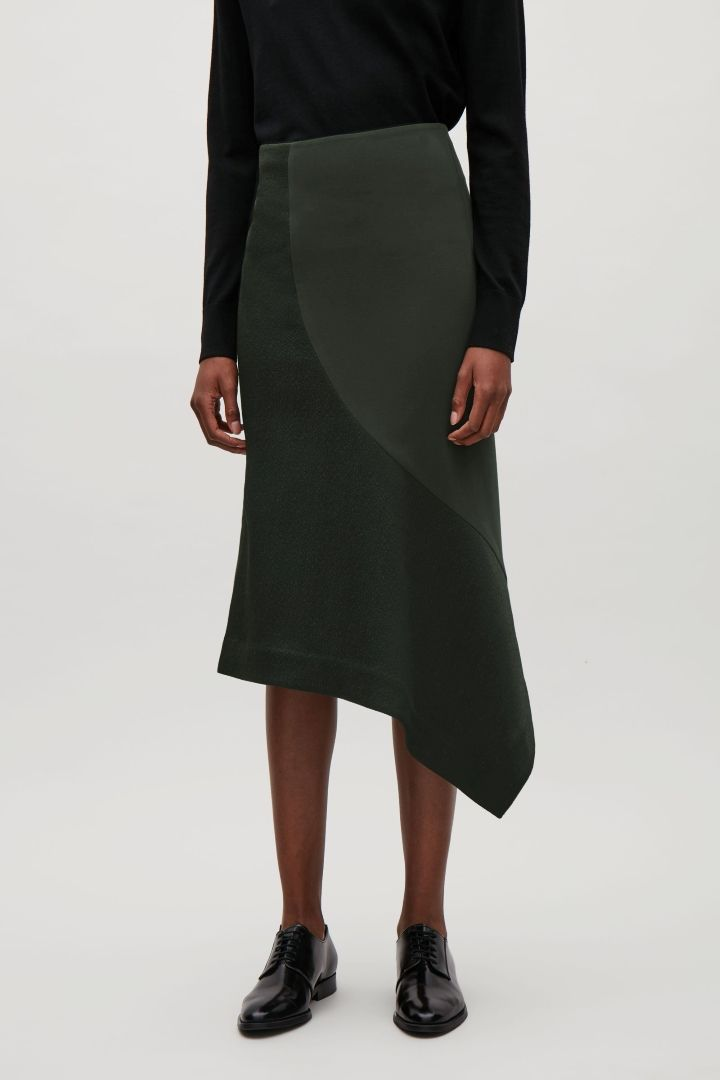 bd9bcd40a COS image 2 of Draped contrast-panelled skirt in Olive Green ...