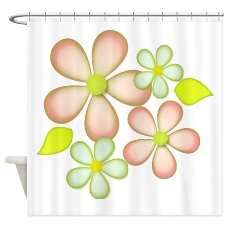 Soft Peach And Green Shower Curtain By Designs By Alondra With