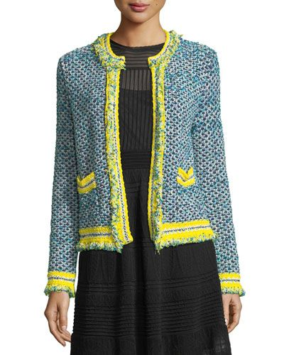 f42cd54137 M MISSONI FRINGED-TRIM TWEED JACKET.  mmissoni  cloth   Open Front Cardigan