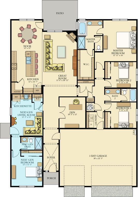 This Feature Floorplan Friday We Are Bringing You One Of Our Newest Next Gen Home Within A Home Fl Multigenerational House Plans House Plans Dream House Plans