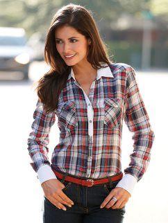 ed977b42a Camisa mujer cuadros 100% algodón | CAMISAS | Fashion, Women y Shirts