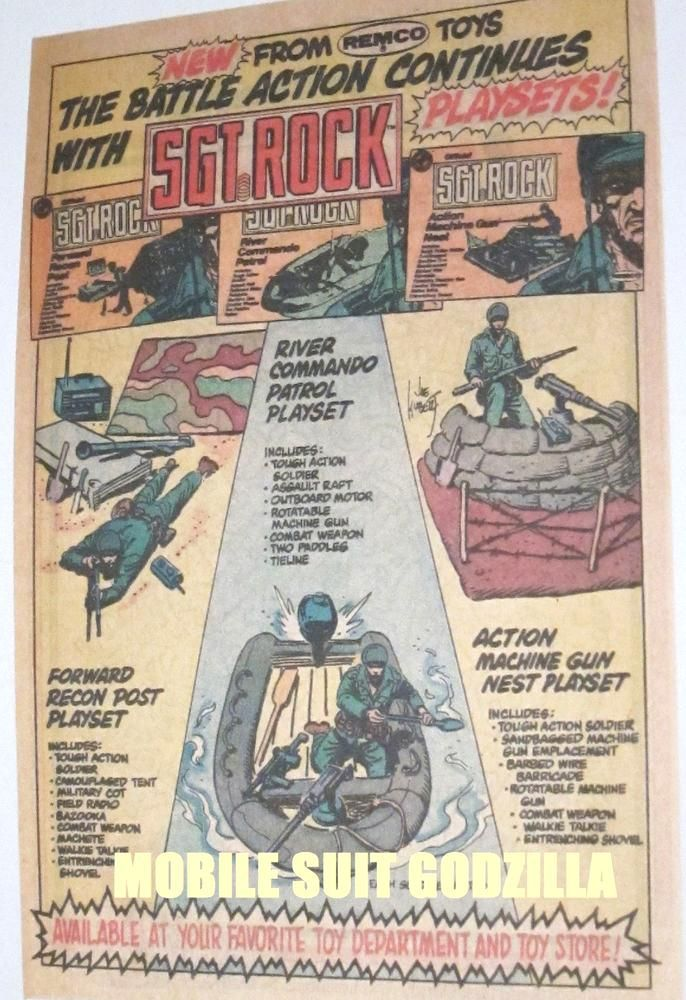 Kubert Dc Sgt Rock Action Playsets Remco Toys Vintage 80s Print Ads Free Usa S From 10 98 Fun Comics Toys In The Attic Dc Comics Characters
