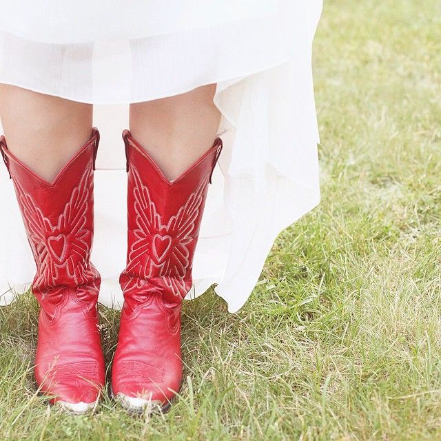 Wedding Dress With Red Cowboy Boots Red Cowboy Boots Red