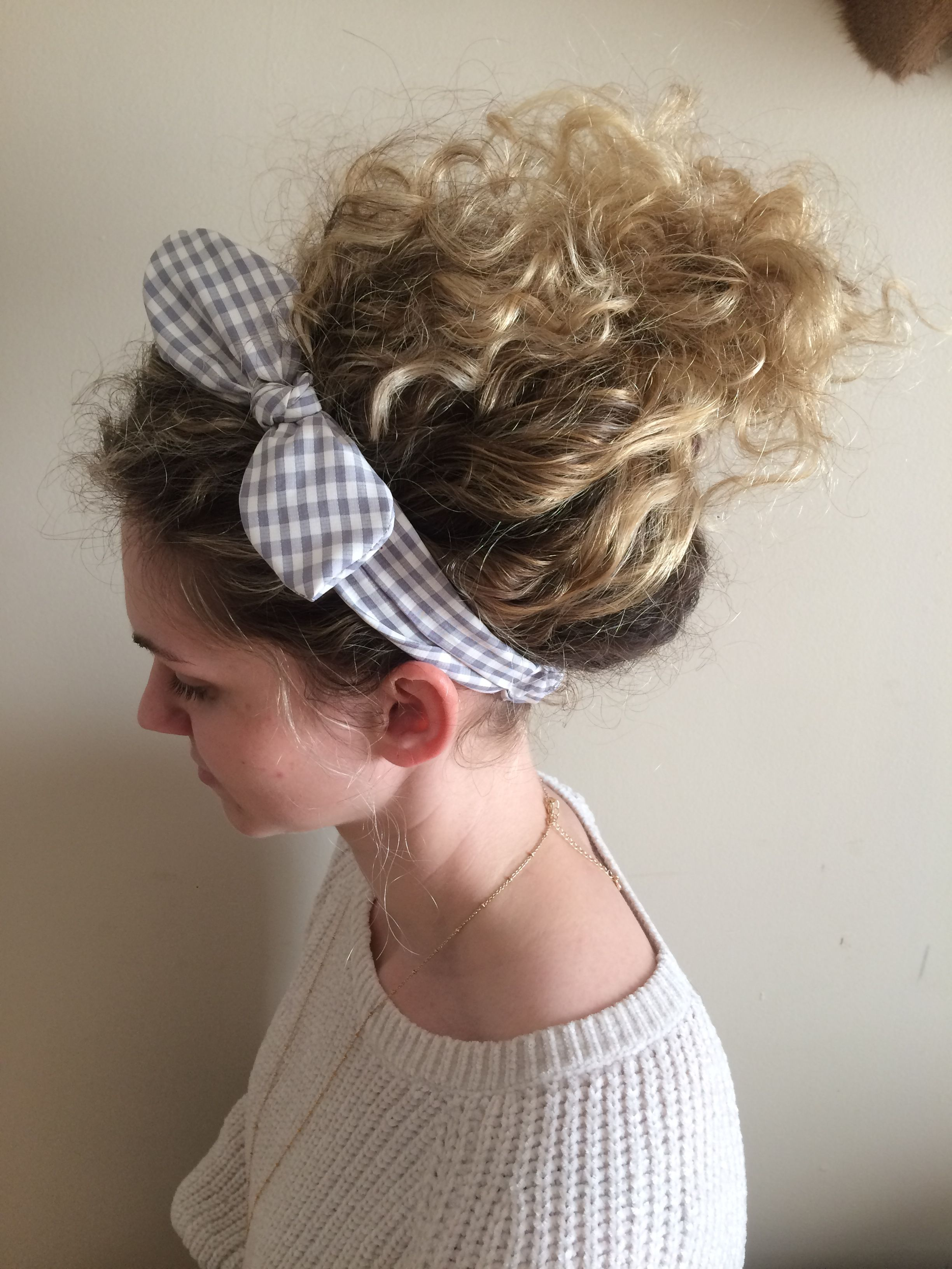 Cute messy curly updo with headband all things beauty pinterest