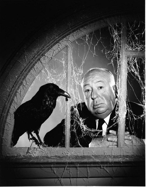 """Philippe Halsman: The British film director Alfred Hitchcock, at the time of the filming of his movie """"The Birds"""". USA, California, Hollywood, Universal Studios, 1962."""