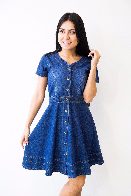 b380d1ca3 Vestido Jeans Luciana - Kibella Moda Evangélica Modelos De Roupas Feminina