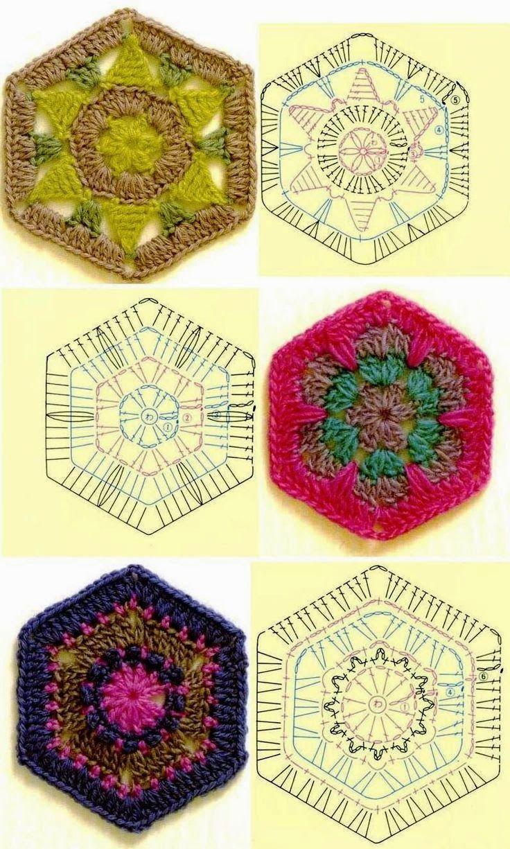 Tejido Facil: Patrón: 3 pastillas hexagonales preciosas | Бабушкин ...