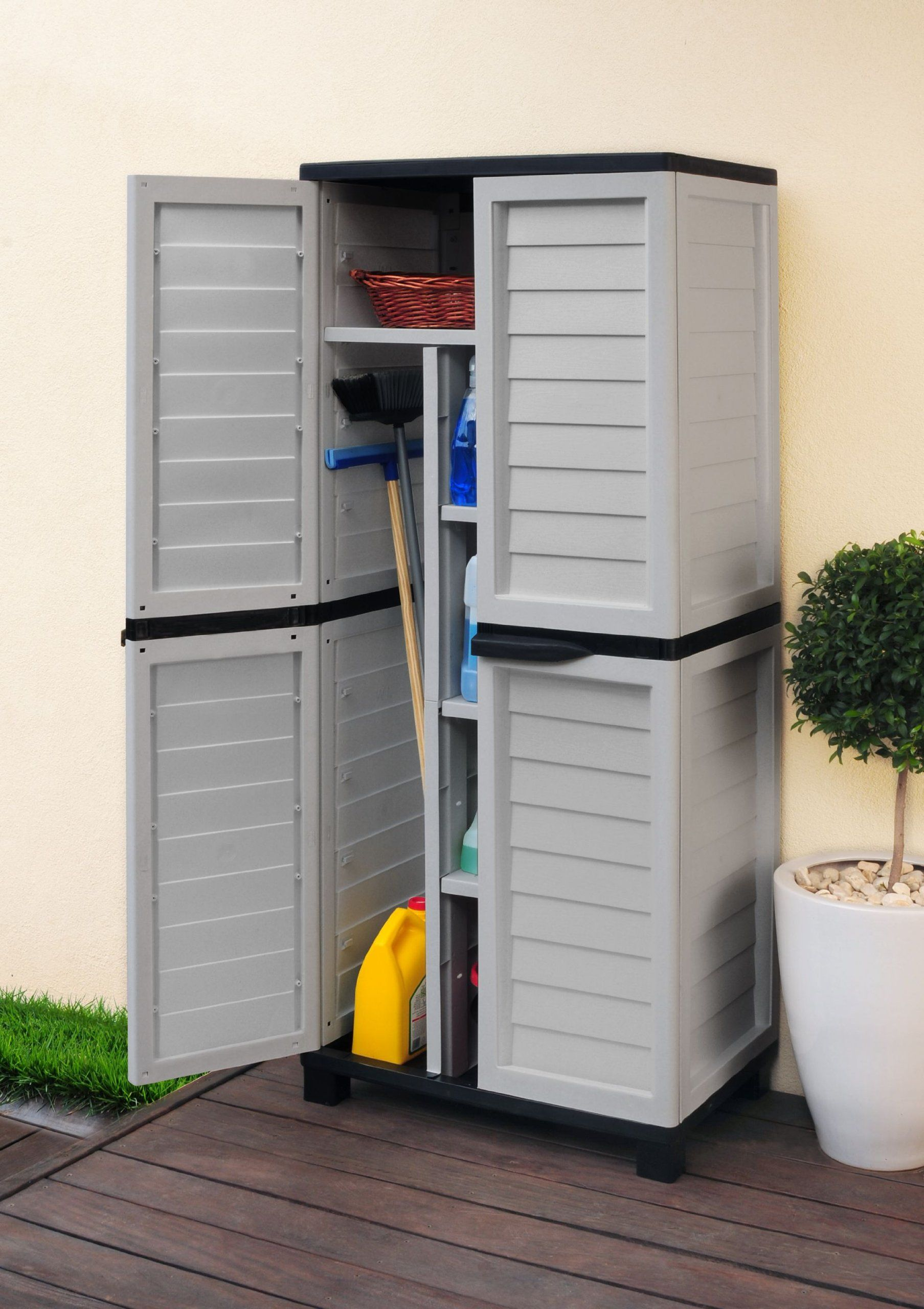 besenschrank silber grau schwarz universal schrank garten garagenschrank f drinnen und. Black Bedroom Furniture Sets. Home Design Ideas