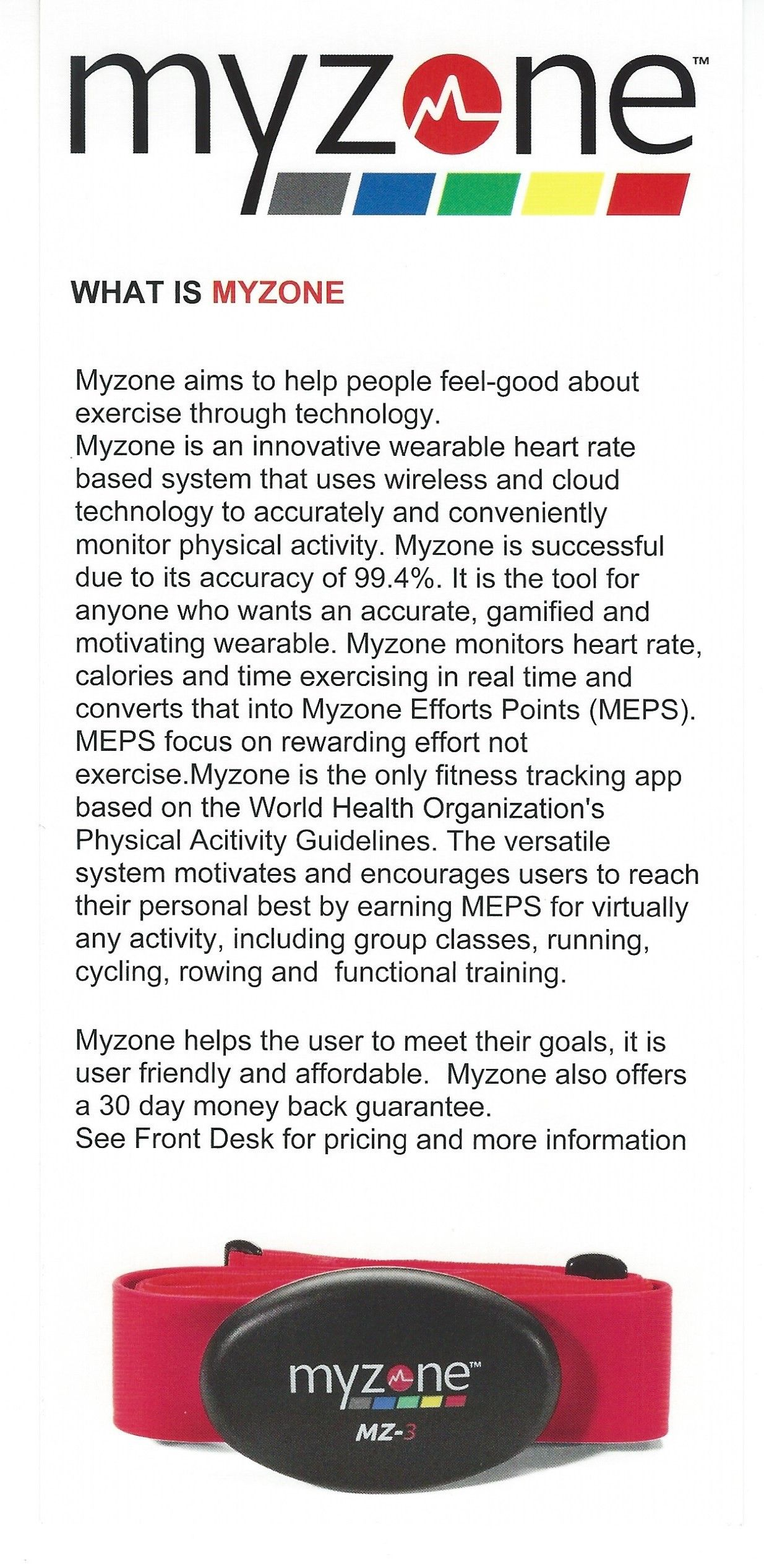 Some information about the MYZONE Belts that we use at the
