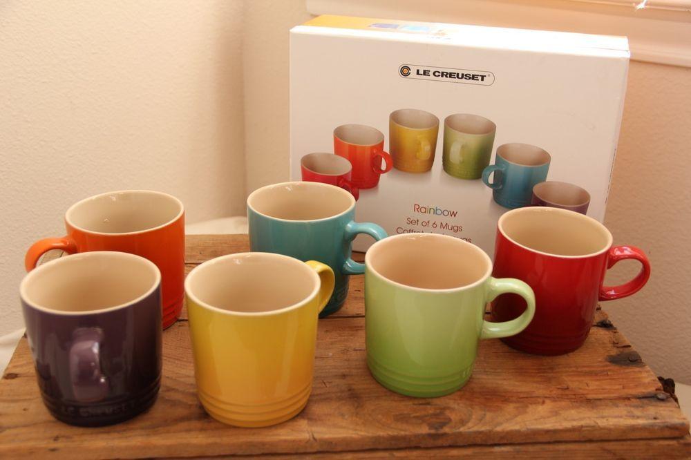 New Le Creuset Rainbow Stoneware Rare Coffee Mugs Set 6 11 8 Oz Assorted Color Mugs Stoneware Rainbow