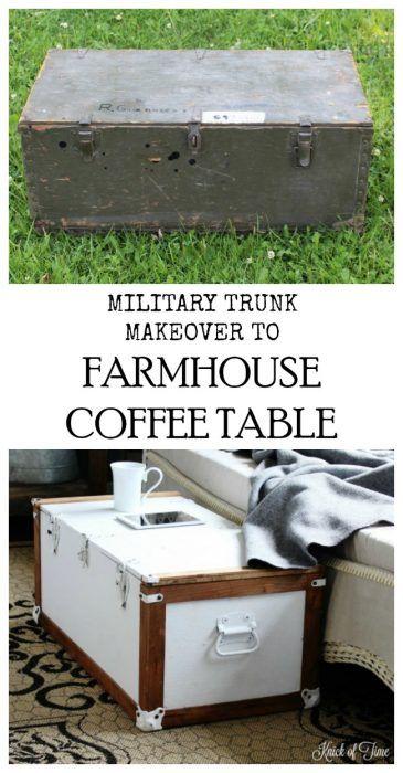 Military Trunk Transformed Into Farmhouse Coffee Table   Www.knickoftime.net