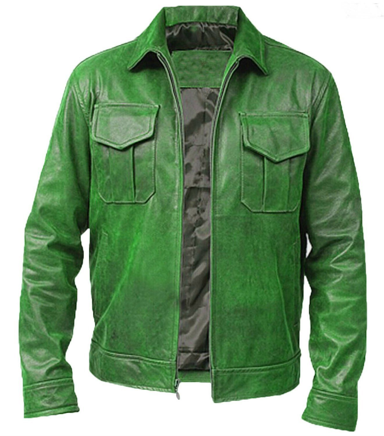 Mens Green Vintage Distressed Motorcycle Cafe Racer