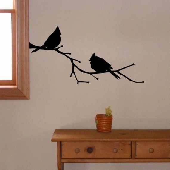 Cardinal Birds On A Branch Vinyl Wall Decal Cardinal Decor State Bird Silhouette Vinyl Wall Decals Wall Decals