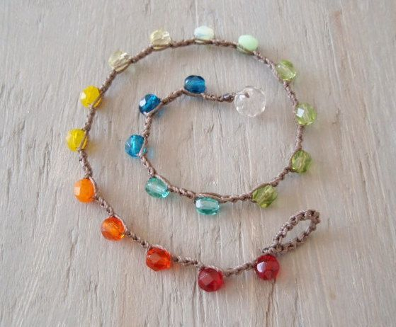 """Colorful crochet anklet """"RainBow""""  multi colored ombre anklet, waterproof beach pool jewelry, bohemian hippie, surfer girl beach chic. $24.00, via Etsy."""