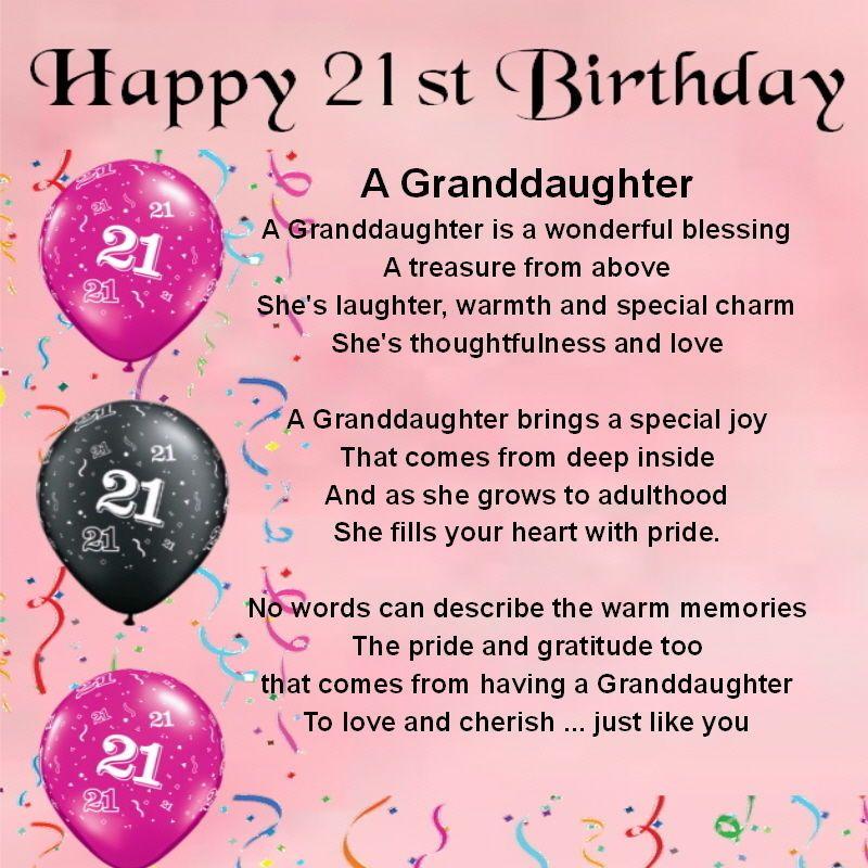 Personalised Coaster - Granddaughter Poem - 21st Birthday ...