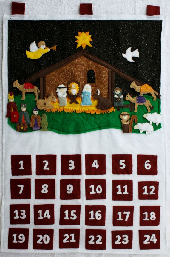 Advent Calendar Ideas Religious : Felt religious advent calendar nativity scene by