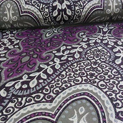 Rasch Glamour Damask Blatt Muster Glitzer Motiv Lila Tapete 404746 - tapeten für küche