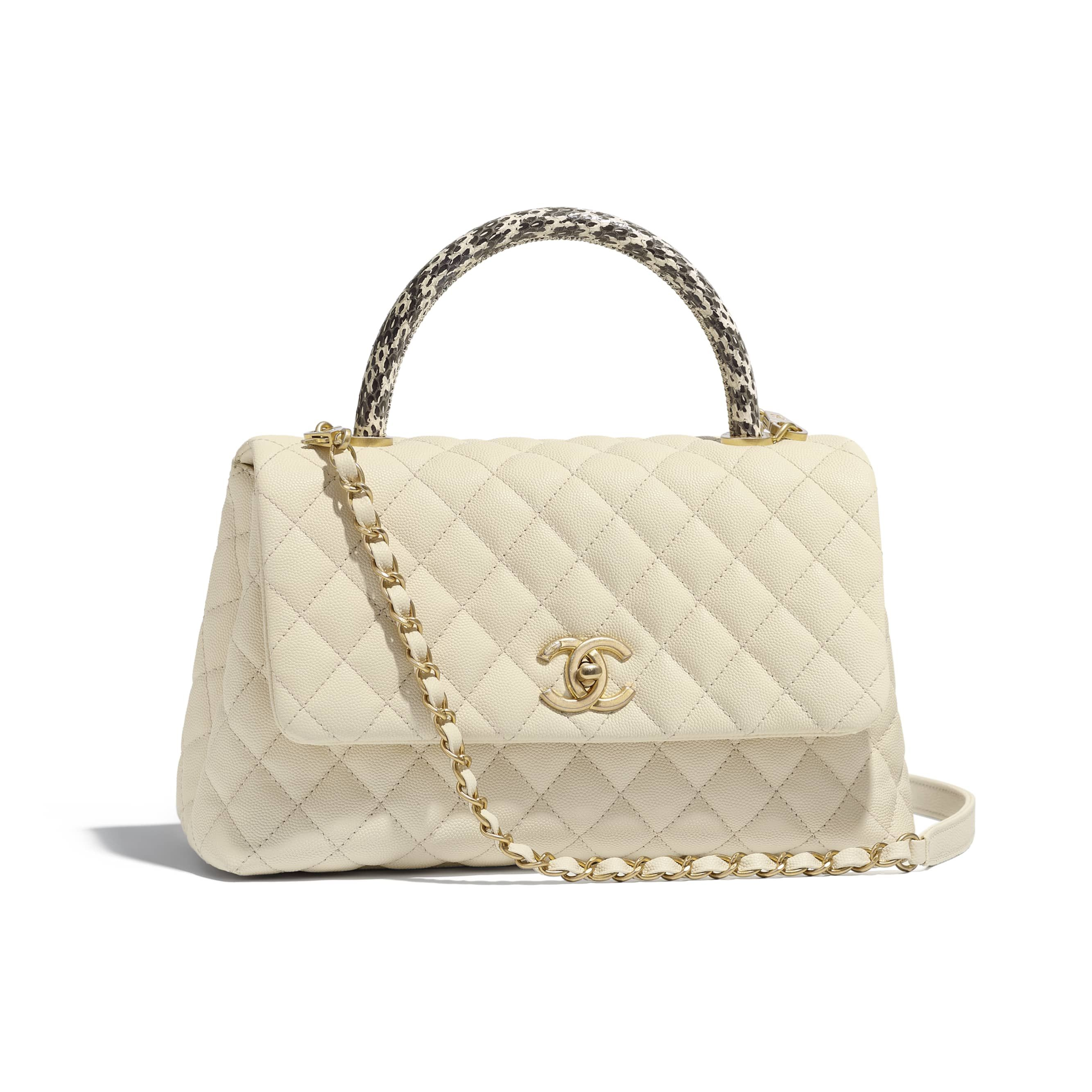 1d98507fa38a Flap Bag with Top Handle - Ivory - Grained Calfskin